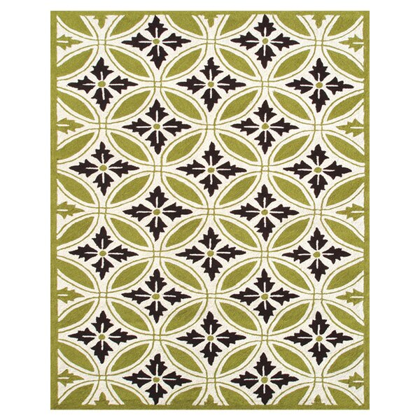 Plymouth Hand-Hooked Green/Ivory Indoor/Outdoor Area Rug by Threadbind