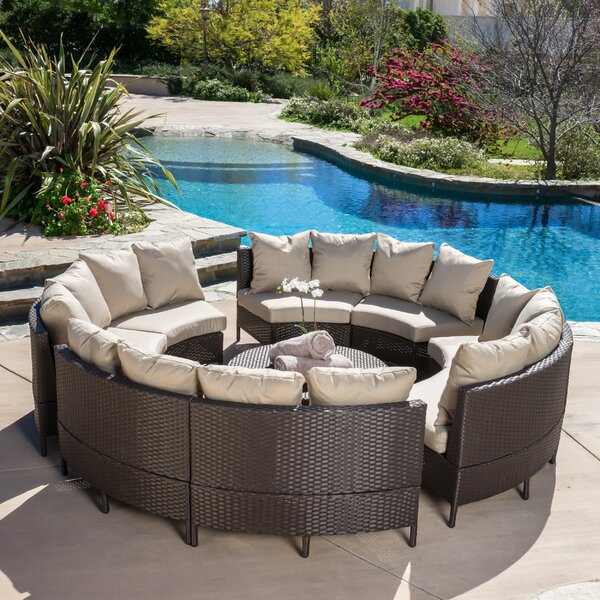 Sena 10 Piece Rattan Sectional Set with Cushions by Beachcrest Home