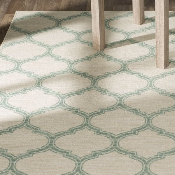Newell Aqua/Cream Area Rug by Andover Mills