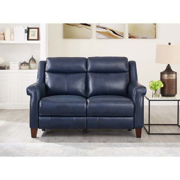 Esperia Leather Reclining Loveseat By Ebern Designs