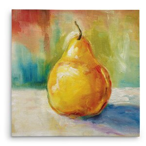 'Fresh Pear' Painting Print on Wrapped Canvas by Three Posts