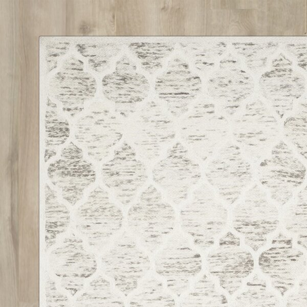 Short Hand-Loomed Light Brown/Ivory Area Rug by Wrought Studio