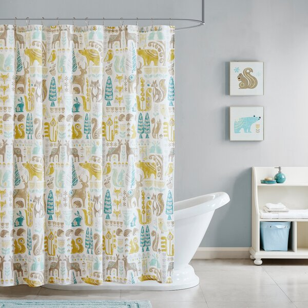 Ducey Cotton Printed Shower Curtain by Harriet Bee
