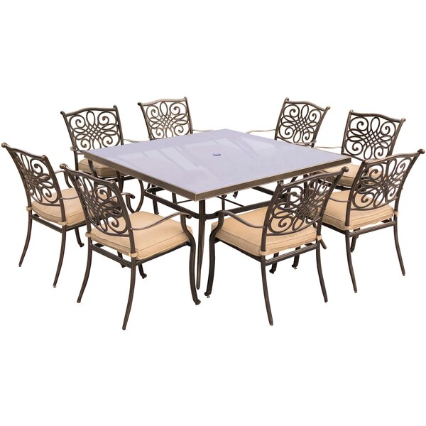 Carleton 9 Piece Square Glass Top Dining Set with Cushions by Fleur De Lis Living