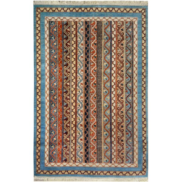 One-of-a-Kind Abner Hand-Knotted Wool Blue/Ivory Area Rug by Isabelline