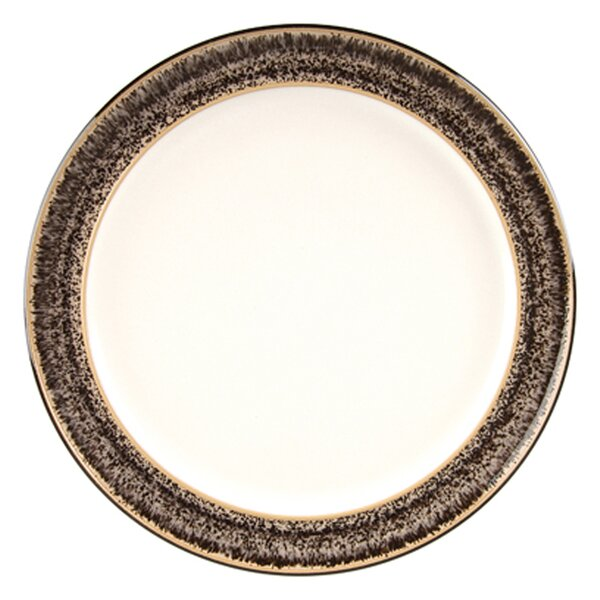 Praline and Praline Noir 9.5 Wide Rimmed Dessert and Salad Plate by Denby