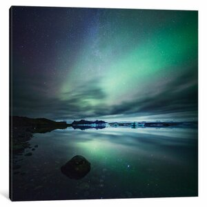 'Aurora Borealis (Northern Lights) Over Glacial Lagoon, Iceland' Photographic Print on Wrapped Canvas by East Urban Home