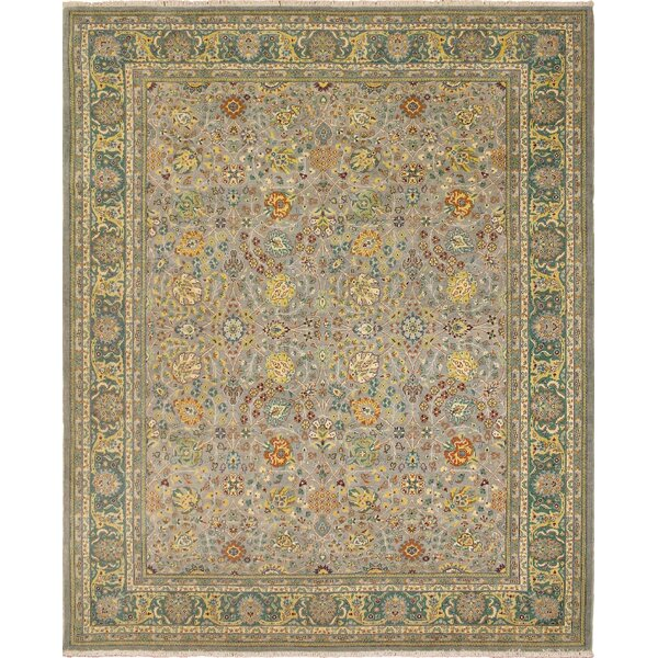 Clerkin Hand Knotted Wool Gray/Green Area Rug by Astoria Grand
