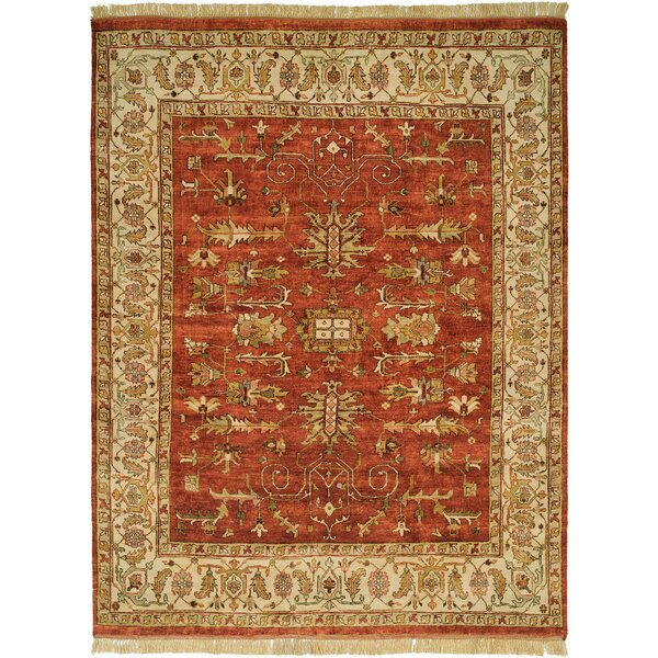 Moresby Hand-Knotted Red/Ivory Area Rug by Wildon Home ®