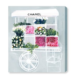 'Fashion Flower Cart' Graphic Art Print on Canvas by Oliver Gal