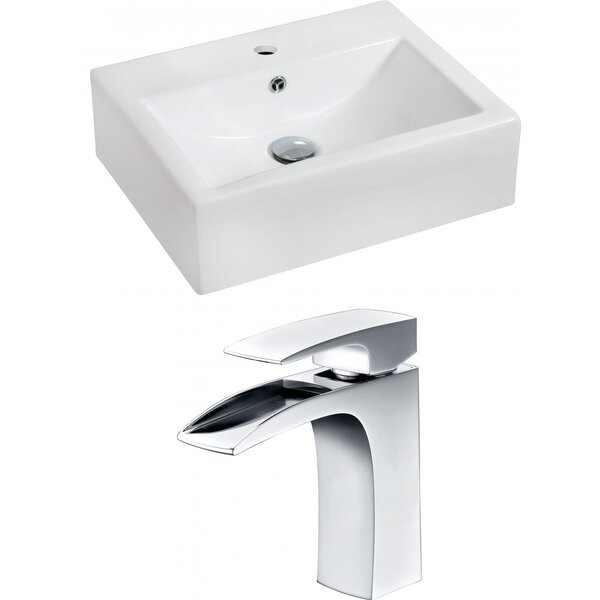 Ceramic 20 Wall Mount Bathroom Sink with Overflow and Faucet