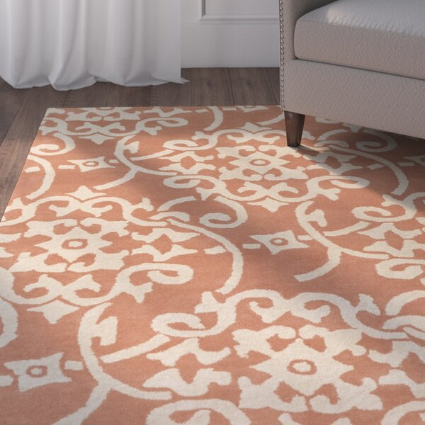 Millwood Hand-Tufted Peach/Cream Area Rug by Charlton Home