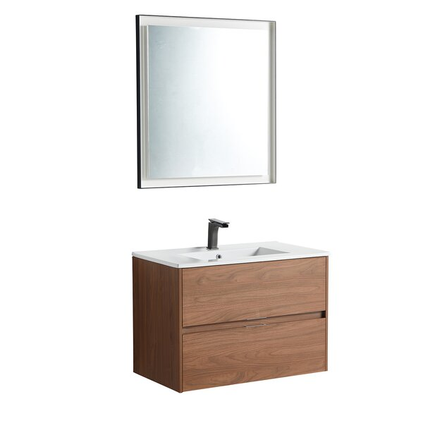 Riey 31 Wall-Mounted Single Bathroom Vanity Set with Mirror