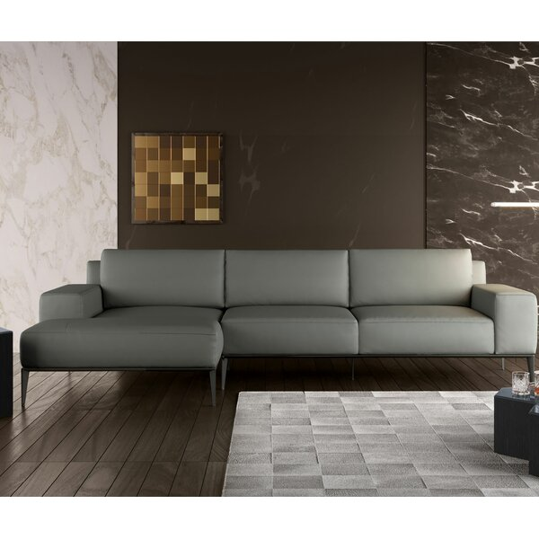 Elizabeth Leather Sectional by Modloft Black
