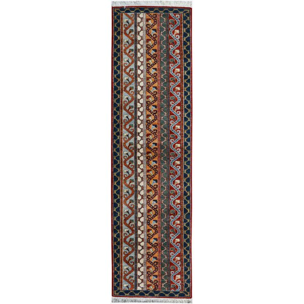 One-of-a-Kind Husby Hand-Knotted Wool Red/Blue Area Rug by Bloomsbury Market