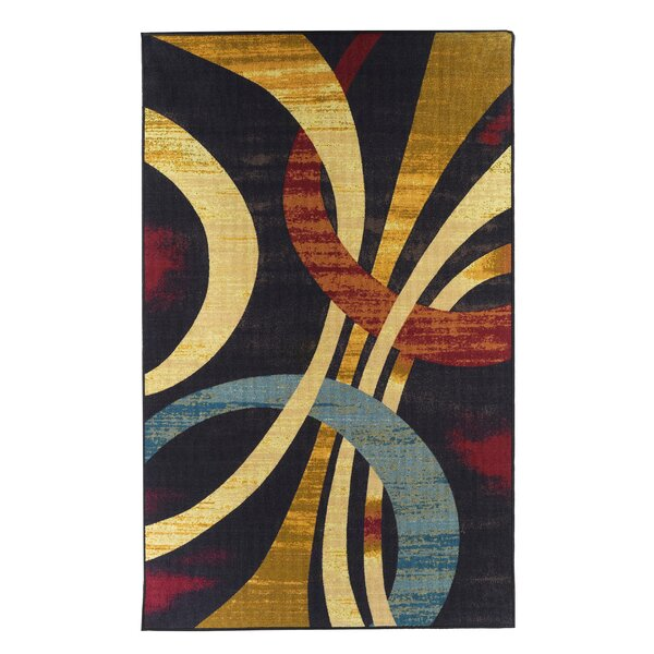 Wavy Circles Yellow/Blue/Red Area Rug by Everything Home