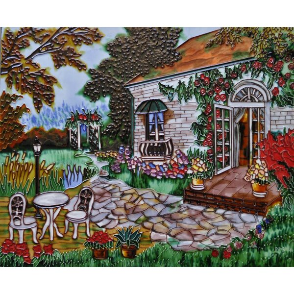 Garden with Flag Tile Wall Decor by Continental Art Center