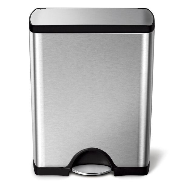 13 Gallon Rectangular Step Trash Can, Brushed Stainless Steel by simplehuman