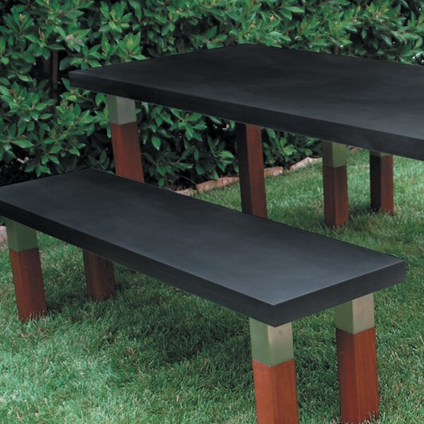 Kenji Stainless Steel and Wooden Park Bench by Modern Outdoor