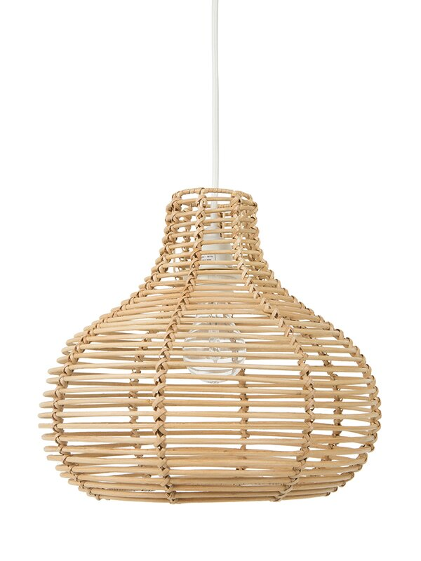 Steele Continuous Weave Wicker Dome 1-Light Inverted Pendant