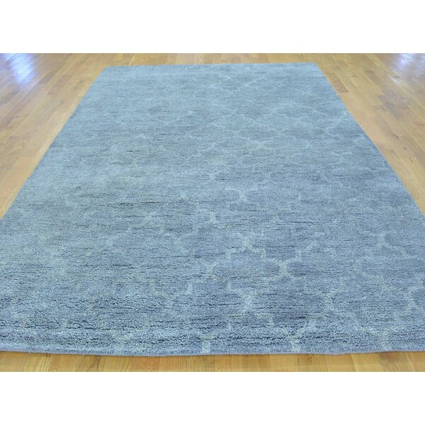 One-of-a-Kind Beard Plush Hand-Knotted Grey Wool Area Rug by Isabelline