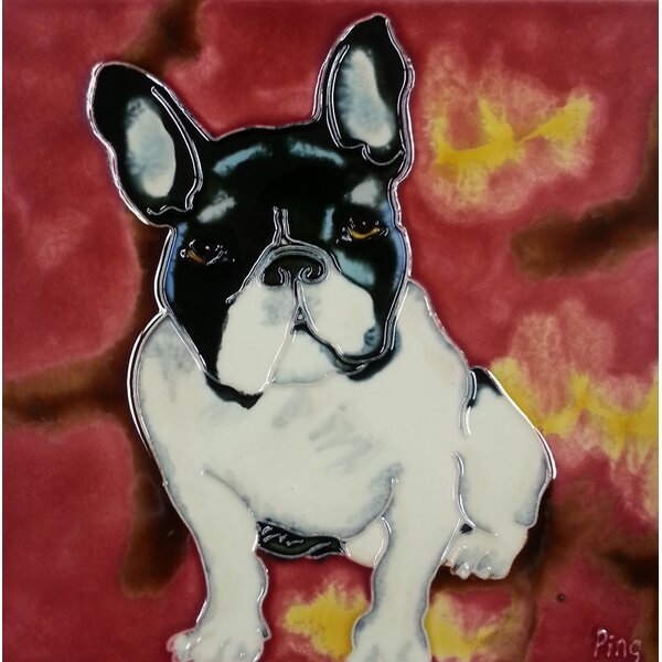 Bulldog with Red Background Tile Wall Decor by Continental Art Center