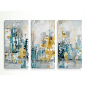 'City Views II' Acrylic Painting Print Multi-Piece Image on Gallery Wrapped Canvas by George Oliver