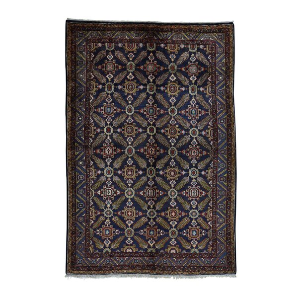 One-of-a-Kind Kendrick Overdyed Barjasta Vintage Hand-Knotted Red/Ivvory Area Rug by Canora Grey