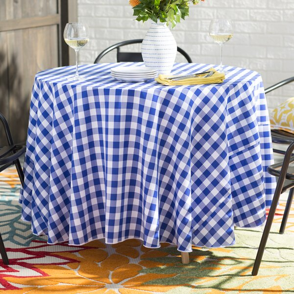 Andrade Polyester Gingham Checkered Round Tablecloth by Zipcode Design