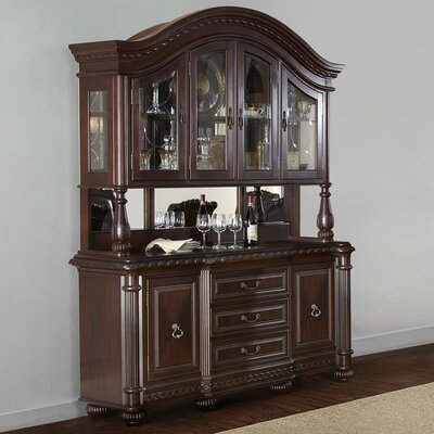 Steve Silver Furniture Hassler Buffet and Hutch in Multi-Step Rich Cherry