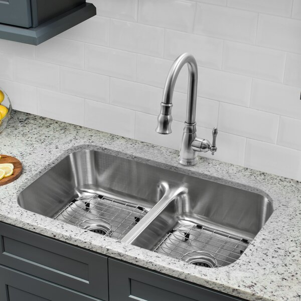33 L x 18 W Double Basin Undermount Kitchen Sink with Faucet and Soap Dispenser by Cahaba