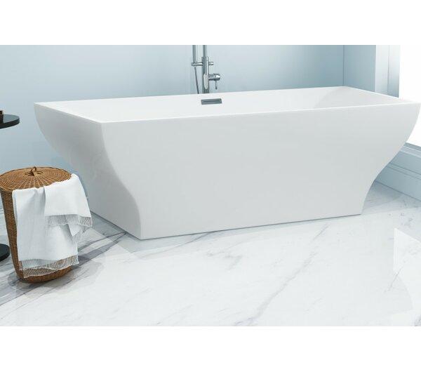 Aqua Eden Square Acrylic 67 x 32 Freestanding Soaking Tub by Kingston Brass