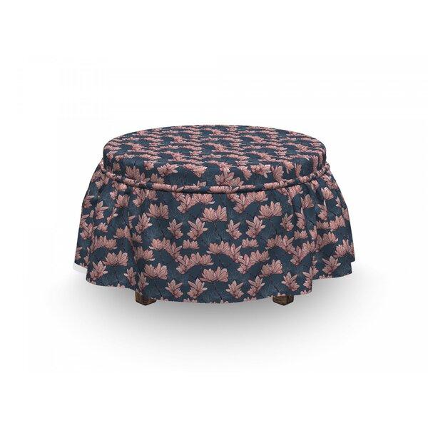 Flowers Magnolia Flowers Japan 2 Piece Box Cushion Ottoman Slipcover Set By East Urban Home