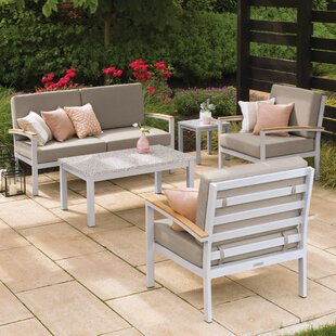 Farmington 5 Piece Teak Sofa Set with Cushions ByLatitude Run