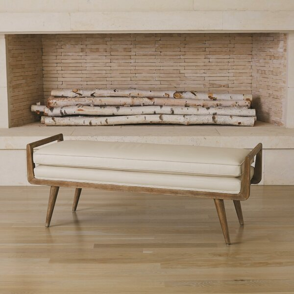 Lucas Long Faux Leather Bench by Global Views