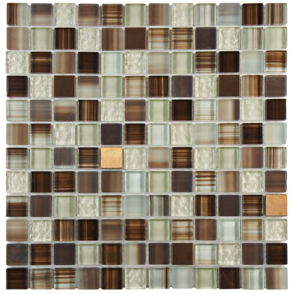Sierra 0.88 x 0.88 Glass and Metal Mosaic Tile in Truffle by EliteTile