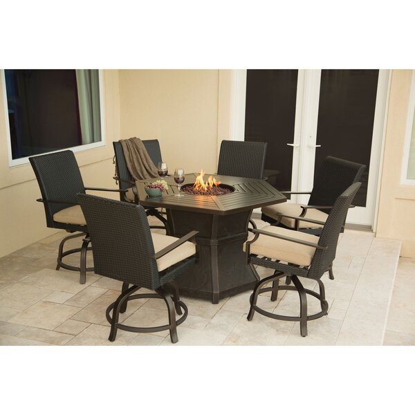 Didomenico 7 Piece Dining Set with Fire Pit by Darby Home Co