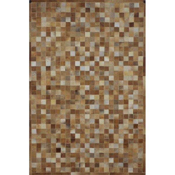 One-of-a-Kind Klahr Hand-Woven Cowhide Camel Area Rug by Latitude Run