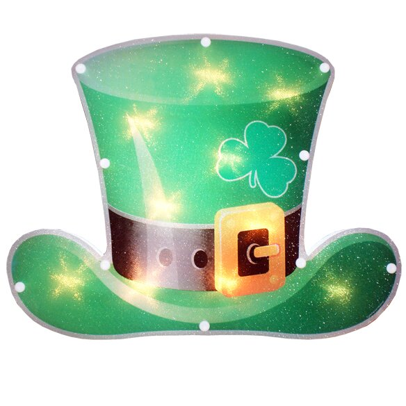Lighted Leprechaun Hat Window Decoration by Penn Distributing