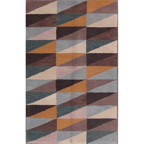 Annabel Gabbeh Traditional Oriental Hand-Tufted Wool Brown/Blue/Yellow Area Rug by George Oliver