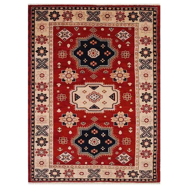 Corrin Hand-Woven Red/Cream Area Rug by Bloomsbury Market
