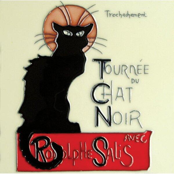 Chat Noir Vintage Black Cat Tile Wall Decor by Continental Art Center