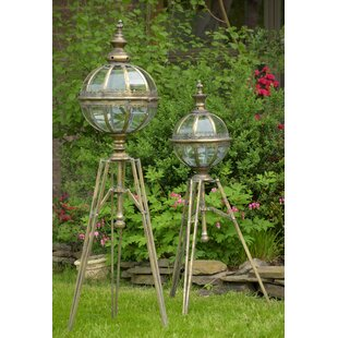 Read Reviews 2 Piece Glass and Iron Lantern Set By Bloomsbury Market