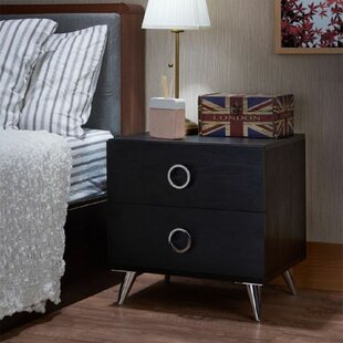 Chattanooga 2 - Drawer Nightstand in Black by Ivy Bronx