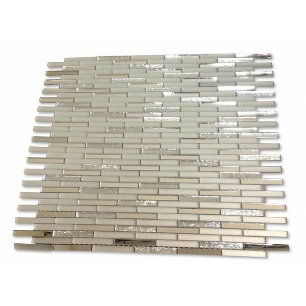 Specchio 0.25 x 2 Mixed Material Mosaic Tile in Metallic Shine by Splashback Tile