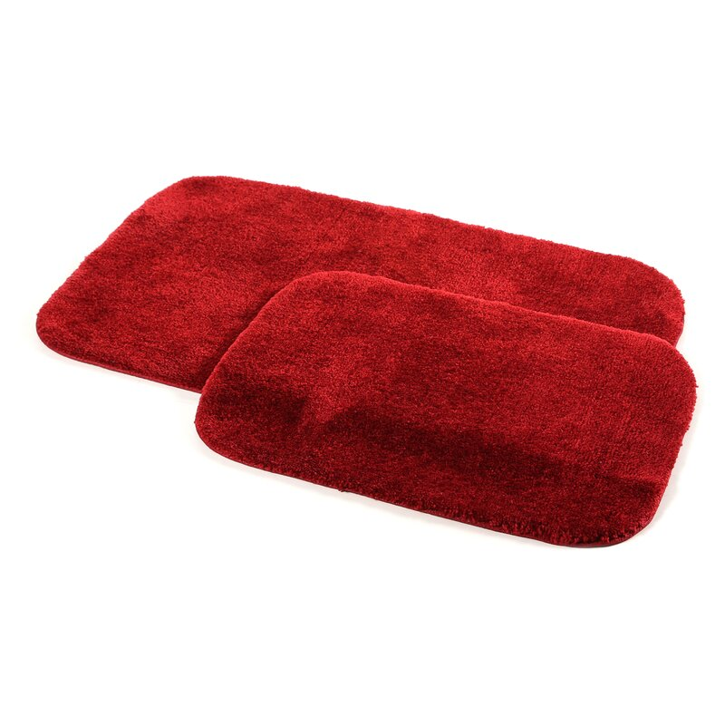 charlton home stanley 2 piece red bath rug set & reviews | wayfair