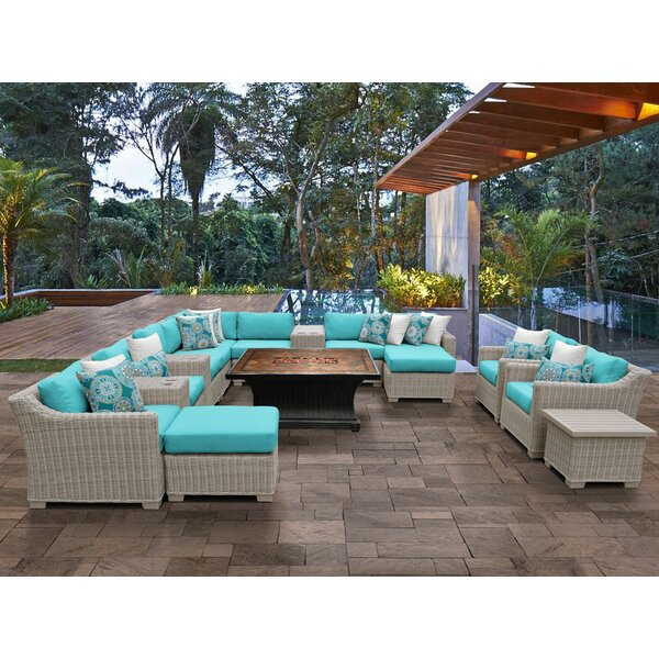 Claire 14 Piece Sectional Seating Group with Cushions by Rosecliff Heights