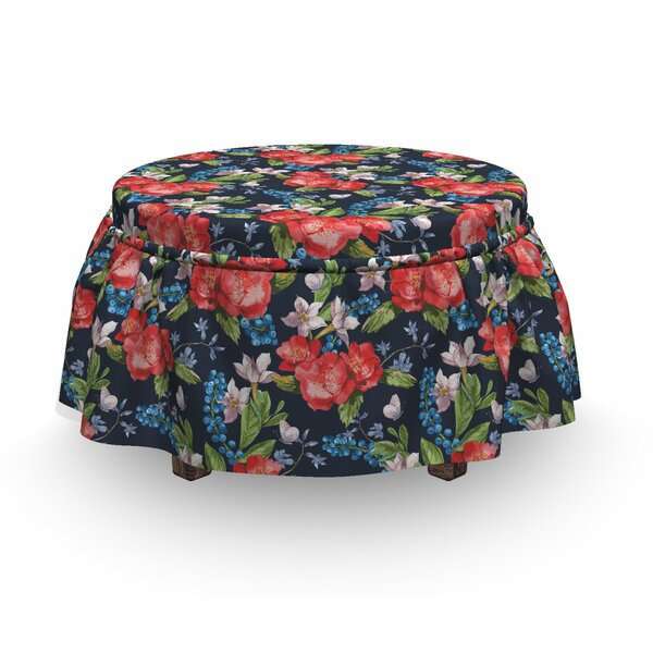 Floral Berries Leaves 2 Piece Box Cushion Ottoman Slipcover Set By East Urban Home