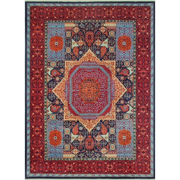 Woodmoor Chobi Hand Knotted Premium Wool Rectangle Blue Oriental Area Rug by Loon Peak