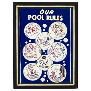 Our Pool Rules Framed Vintage Advertisement by RAM Game Room
